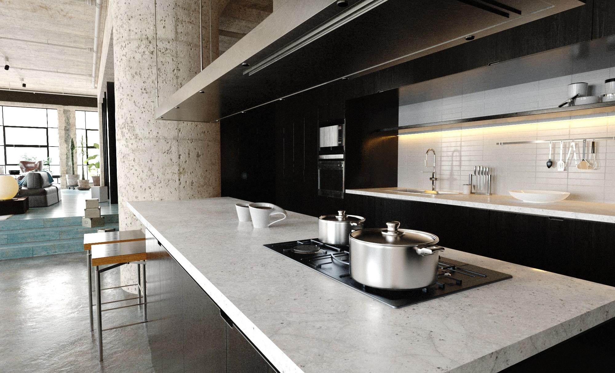 rendering cucina open space