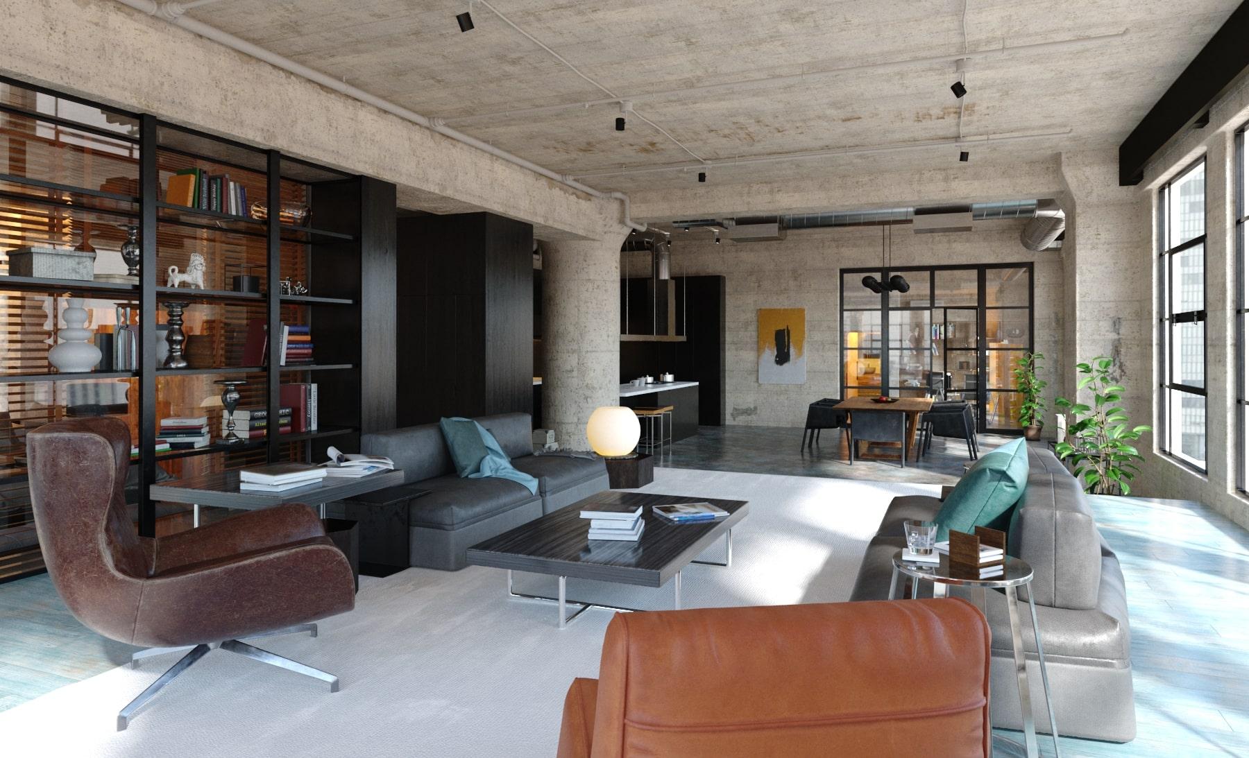 rendering appartamento open space