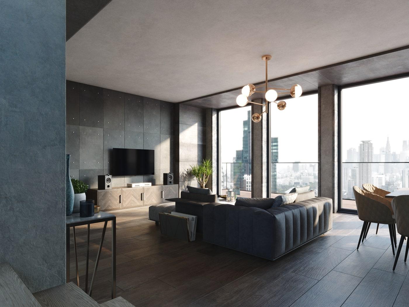 rendering monolocale moderno per agenzia immobiliare