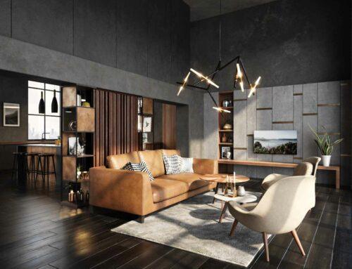 Rendering interni appartamento stile industrial